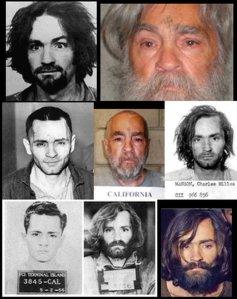 Charles Manson mugshot and head shot collage