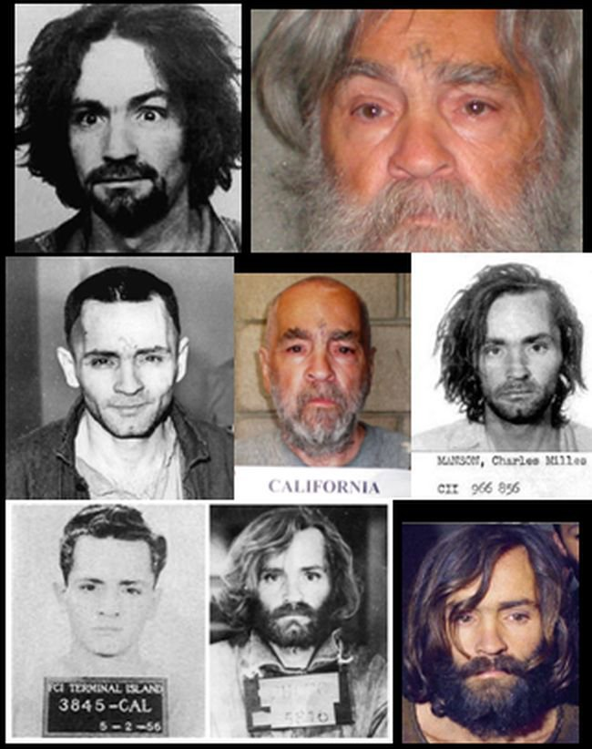 Charles Manson mugshot and head shot collage